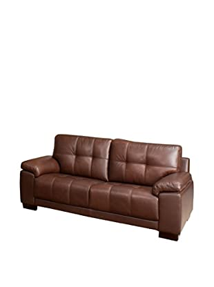 Abbyson Living Arjena Leather Sofa, Chestnut-Brown