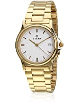 Karishma Ne389Ym10 Golden/White Analog Watch Titan