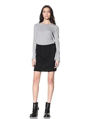 Ann Demeulemeester Women's Wool Skirt with Beaded Trim (Black)