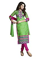 Vibes Women's Cotton Straight Fit Unstitched Dress Material (V286-10009_Green)