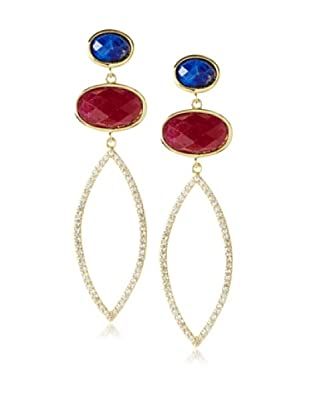 Melanie Auld Lapis/Agate Double Oval Earrings