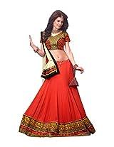 Brijraj Women's Unstitched Resham Lehenga (122107407000_Red & Cream_Free Size)
