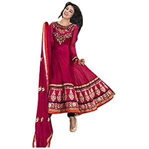 Deep pink color semi stitched anarkali suit