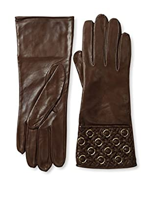 Portolano Women's Quilted Cuff Leather Gloves with Gold Rings (Cork)