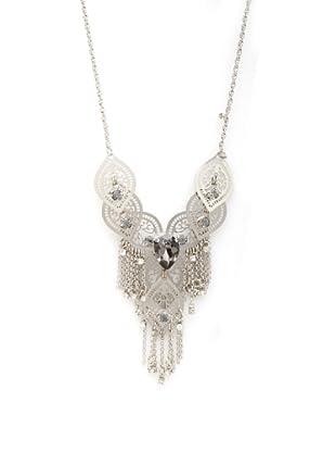 LK Designs Lace Chain Necklace, Silver/Black Diamond