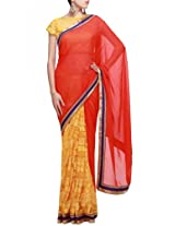 Kalki Fashions Women Half and half saree featuring in red and yellow with embellished border only on Kalki
