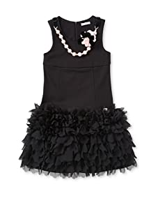 Miss Grant Girl's Chiffon Ruffle Dress with Necklace (Black)