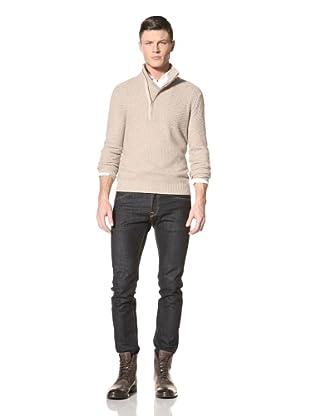 Jacob Holston Men's Hewitt Mix Stitch Zipper Sweater (Camel)