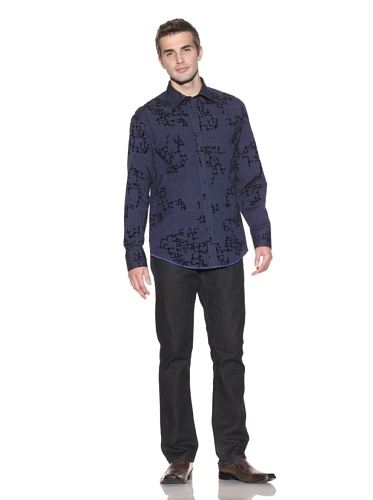 Jhane Barnes Men's Linked Long Sleeve Button-Up (Blue)
