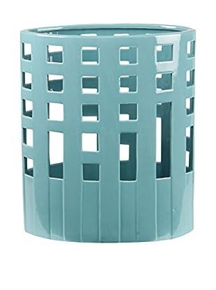 Privilege, Inc. Small Wide Pierced Ceramic Vase, Turquoise