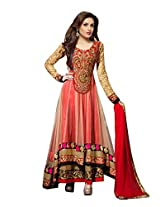 Clickedia Women Net Beige & Red Anarkali Suit- Dress Material