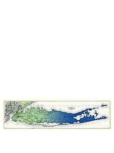 "Long Island Gradient Map, Green/Blue, 11"" x 40"""