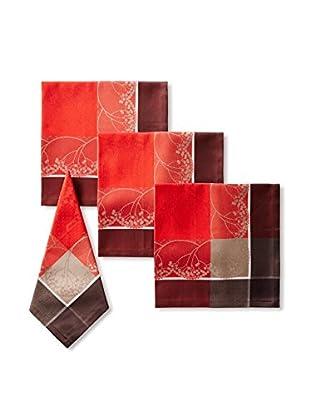 Garnier-Thiebaut Set of 4 Santa Klaus Cerise Napkins, Red