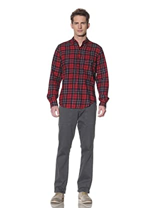 Shades of Grey by Micah Cohen Men's Long Sleeve Button-Up Shirt (Arcadian Plaid)