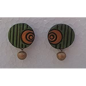 Petals Of Earth Terracotta Green And Yellow Stud Earrings