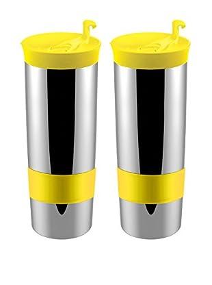 asobu Set of 2 Hot Coffee & Tea Press, Yellow
