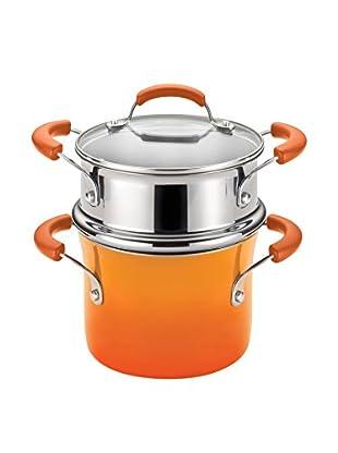 Rachael Ray 3-Qt. Hard Enamel Nonstick Covered Steamer Set, Orange Gradient