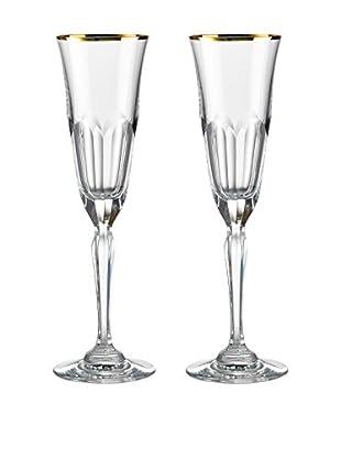 Rogaška Set of 2 Aulide 5-Oz. Champagne Flutes, Gold