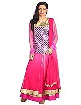Myra Women's Georgette Semi-Stitched Salwar Suit (MY-004, 40 Inches, Rani)