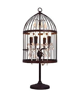 CDI Furniture Iron Bird Cage Table Lamp, Rust