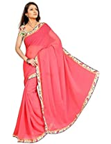 RoopSangam Plain Pitch Color Chiffon Saree Lacy Border (Daily And Party Wear)