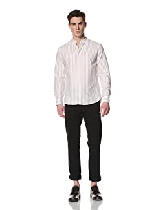 Camo Men's Iondini Band Collar Shirt (Brown Stripe)