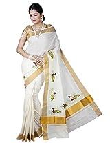 Atex Cotton Zari Saree With Blouse Piece (5147 -Ivory)