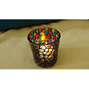 Hued Colourful Mosaic Candle Holder