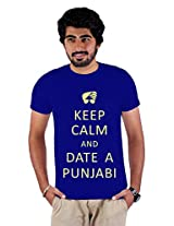 Enquotism Royal Blue Combed Fabric Round Neck Men T-Shirt-XXL Keep calm and Date a Punjabi Royal Blue -XXL
