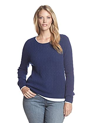 Kier & J Plus Women's Cashmere Crew Neck Cable Sweater (Encre)