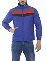 Zobello Men's Polyester Padded Racing Stripes Cire Jacket(51071B_Royal/Grey/Red/Black_X-Small)