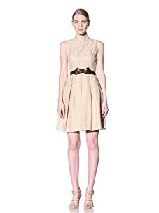 Muse Women's Lace Dress with Bow Belt (Beige)