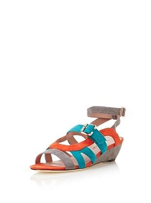 Rebecca Minkoff Women's Nella Colorblock Sandal (Fog Grey/Peacock/Coral)