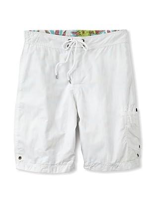 Tailor Vintage Men's Reversible Board Shorts (White/Cactus Print)