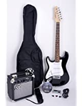 SX RST 3/4 LH BK Left Handed Short Scale Black Guitar Package with Amp, Carry Bag and Instructional