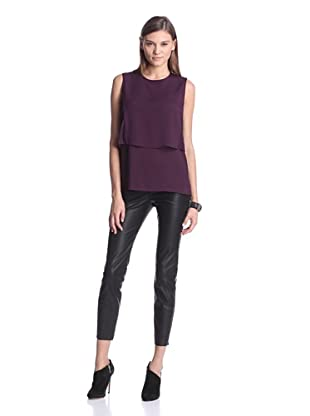 Calvin Klein Women's Sleeveless Top with Lace Detail (Aubergine)