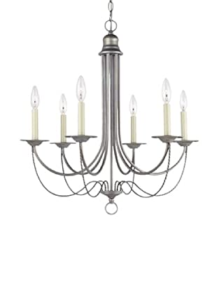 Sea Gull Lighting Plymouth 6-Light Candelabra Chandelier, Weathered Pewter