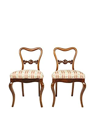 Pair of New Rococo Style Parlor Chairs, Brown/Pink/Tan