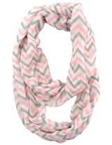 Cotton Cantina Soft Chevron Sheer Infinity Scarf (Pink/Gray/White)