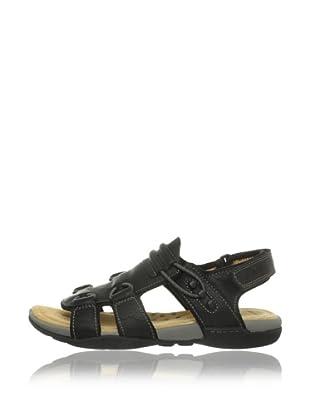 Clarks Leder Sandale Vent Spring (Schwarz)
