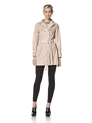 HARE + HART Women's Laird Leather Trench Coat (Camel Beige)