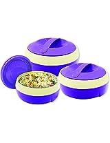 Princeware Solar Plastic Casserole Set, 3-Pieces, Violet