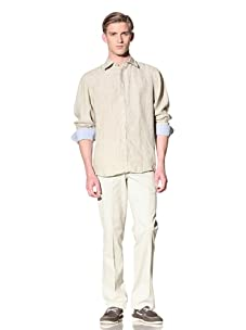 Report Collection Men's Linen Button-Front Shirt (Sage)