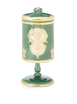 Opulent Jade and Gold Design Pedestal Glass Jar with Lid
