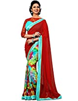 Sapphire Fashions Women's Red Georgette Sari