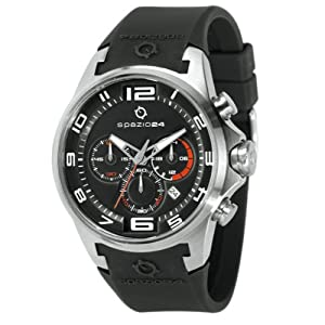 Spazio24 Men's L4C052/01N Visual Chrono Black Dial Black Strap Watch