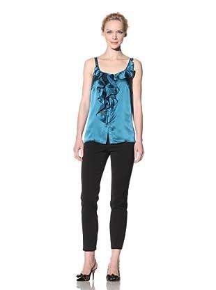 Philosophy di Alberta Ferretti Women's Ruffle Front Sleeveless Top (Dark Teal)