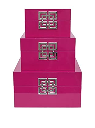 Three Hands Set of 3 Boxes, Fuchsia