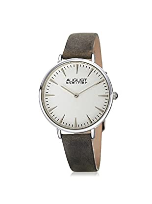 August Steiner Women's AS8187GY Crazy Horse Grey/White Leather Watch