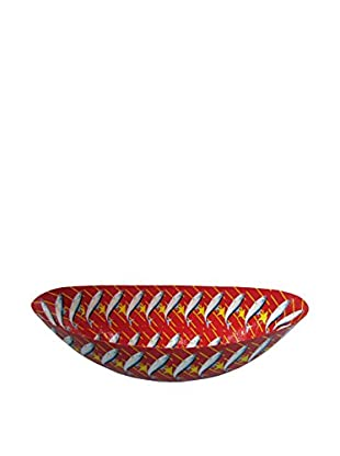 Asian Loft Handcrafted Lucky Star Tuna Paper Mache Boat Bowl, Red